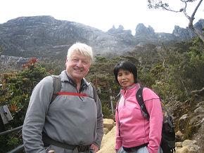 Beginning the climb up Mount Kinabalu with my guide Nani