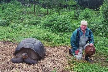 Stanley with giant tortoise, Galapagos, Nov 2006