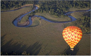 Floating on air: A Skyship balloon glides over the Masai Mara reserve