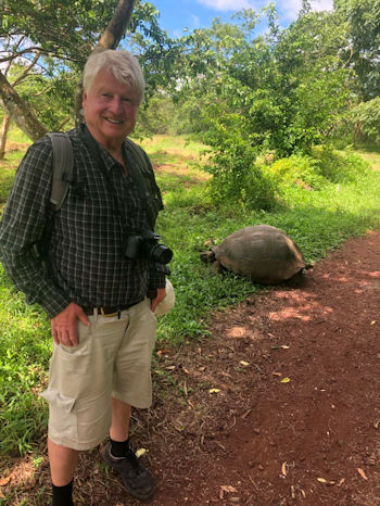 Stanley Johnson with a Galapagos tortoise